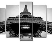 """60""""x36"""" Black and White Framed Huge 5 Panel Art France Paris Eiffel Tower Giclee Canvas Print - Ready to Hang"""