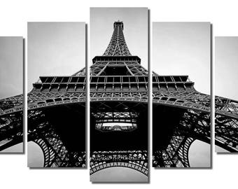 "60""x36"" Black and White Framed Huge 5 Panel Art France Paris Eiffel Tower Giclee Canvas Print - Ready to Hang"
