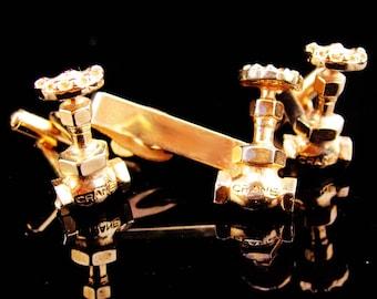 Faucet Cufflinks / Tie Clip Set / Crane plumber / Vintage Utilities / Industrial Plumbing / Spigot Manufacturer / gold Gate Valve