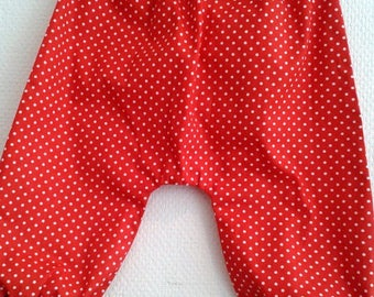 harem pants in red cotton with dots 6/12 months