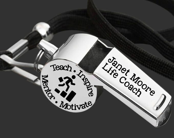 Life Coach | Coach Whistle | Coach Gift | Gift for Coach | Coach Appreciation | Personalized Whistle | Engraved Whistle | Korena Loves