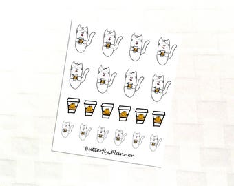 Pumpkin Spice Late Tiggero , Set of 20 Planner Stickers, PSL Drink, Pumpkin Spice Everything