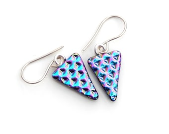 Glass Triangle Drop Earrings, Dichroic Fused Glass Jewellery, Blue and Pink Dart Dangle Earrings
