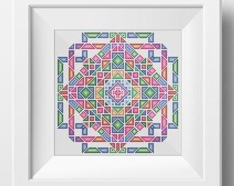 Geometric Mandala No. 1  - Modern Crosstitch PDF pattern