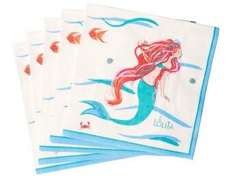 Mermaid Print Paper Napkins