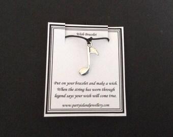 MUSIC NOTE Charm Black Friendship Bracelet on Wish Message Card