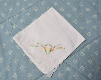 Vintage Hankie withEmbroidery and EyeletTrim