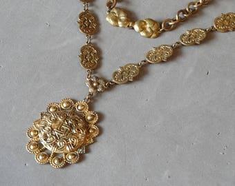 Antique Art Nouveau Necklace Y Drop Pendant Gold Brass w Enamel Old Vintage Downton Abbey Jewelry