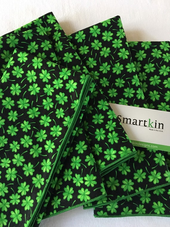 Green Tossed Shamrocks St Patricks Day All Cotton Dinner Napkin 18x18 in Size by Smartkin