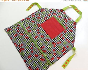 SUMMER SALE EVENT Girl's apron Girls Cherries aprons,girls apron 4 pokets,little chef's,bake off birthday gift for girl ready to ship
