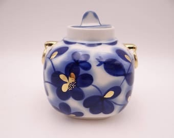 Vintage Imperial Lomonosov Russia Cobalt Blue Garden Tea Caddy