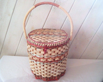 Vintage sewing basket, woven rope and wood basket, floral basket, white pink, mid century, 50s 60s, large sewing basket, gift for her
