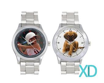 Photo Watch, Custom Stainless Steel Watch, Custom Watch, Personalized Watch, Monogram Watch, Graduation Gift, Birthday Gift, Unisex Watch