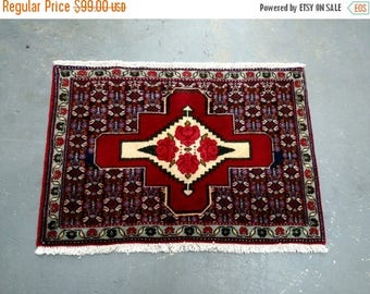 SUMMER CLEARANCE 1980s Vintage Hand-Knotted Gholtogh Bijar Persian Rug (3498)
