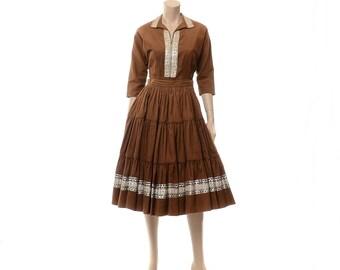 Vintage 50s Southwestern Squaw Dress Set 1950s Arizona Original Rockabilly 2 pc Corduroy Top + Full Circle Skirt Patio Fiesta Dress