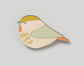 Wooden bird brooch - Willowtit