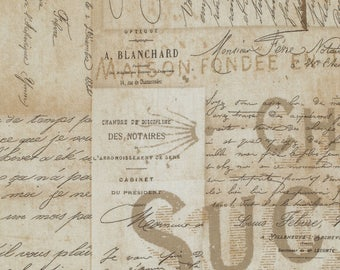 French Script - Tim Holtz - Eclectic Elements - Neutral Fabric - Newspaper Print Fabric - Novelty Fabric - Tim Holtz Style Fabric