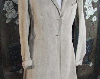 Edwardian HOMESPUN Linen Equestrian Style Coat .......sold by John Wanamaker.........size MEDIUM