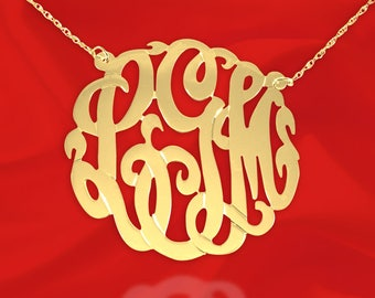 Initial Necklace - 1 1/2 inch Monogram Necklace - 925 Sterling Silver 24k Gold Plated - Made in USA