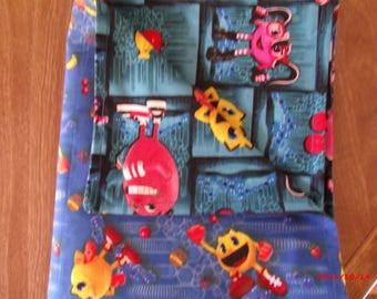 Pac-man with Friends reversable Baby Blanket 100% cotton 44 X 36 inches