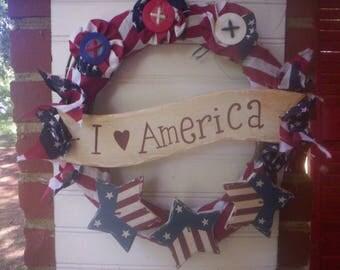 American flag wreath/Patriotic Fabric flower wreath/USA wreath/4th of July Wreath/Patriotic star wreath/Rustic wood Flag Patriotic wreath