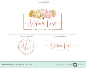 Makeup Logo Design, Branding Package Premade Logo, Set of 3 Logos,  Makeup Artist Logo,  Watercolor Logo, Beauty Salon Logo, Makeup Branding