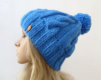 Chunky Cable Pom Pom Hat - Women Knit Hat -  Hand Knitted Blue Cabled Bobble Hat - Chunky Blue Pom Pom Hat -Clickclackknits