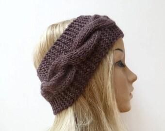 Brown Wool Cable Headband - Women Knit Headband - Wool Cabled Ear Warmer - Hand Knitted Aran Eco Friendly Headband - Clickclackknits