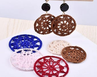 10 Pieces,Crochet Embroidery Knitting Ring Necklace Pendant, Earrings Ornament, Round Color Lace Knitting Earrings Pendants