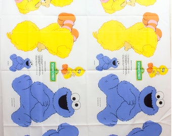 Vintage 1980's Sesame Street Big Bird & Cookie Monster Cut and Sew Pillow Fabric