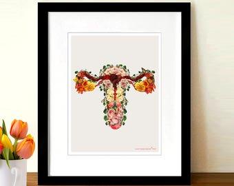 "Fine Art Print, ""Flower Uterus - Baby Garden"" 8.5"" x 11"",Anatomy Medical print,OBGYN Gift, Nurse Graduation gift, Female Reproductive System"