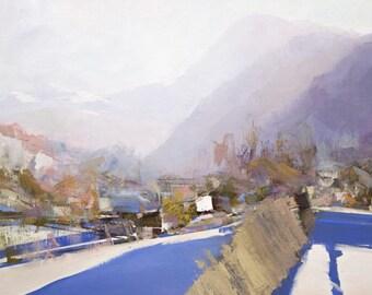 Landscape oil painting, Canvas nature artwork, Winter painting, White original painting landscape art mountains