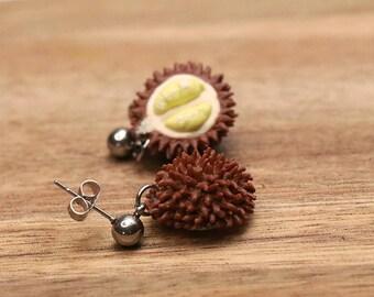 Durian Earrings - Fruit jewelry - Fruit earrings - Miniature food jewelry