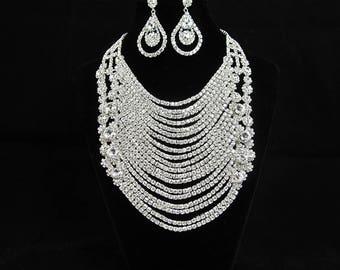 SALE ~ Crystal Bridal Necklace Set, Silver Rhinestone Bridal Statement Necklace, Rhinestone Statement Wedding Necklace ~ E 37