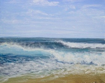 """Sea Painting, Acrylic on Canvas 10"""" x 12"""" - """"To Breathe"""""""