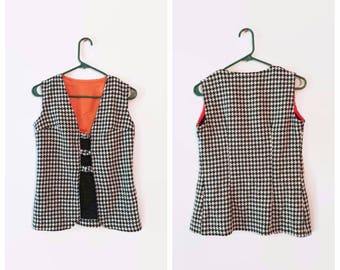 Vintage Houndstooth Vest size Medium Womens