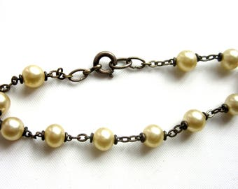 Antique Silver & Glass Pearl Chain Bracelet Delicate Dainty 7.5 Inches