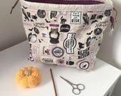 Halloween witch trick or treat  bat owl cat drawstring knitting/crochet project bag