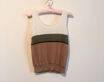 70s style colour-block tank, basic ribbed tank top brown black white olive, small - vintage -