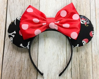 Minnie Mouse Ears Pirate Polka Dot Fabric Headband Pirates of the Caribbean
