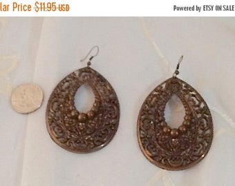 Summer Sale Giant Dangle Earrings, Lightweight, Filigree Pattern Made from Plastic Painted Metallic Coppery Brown
