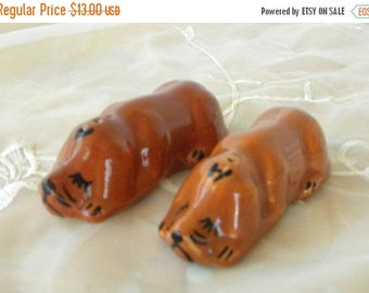 Summer Sale Hound Dog Salt and Pepper Shakers, Brown, Stoppers are Missing, 1930's, Collectibles, Collector