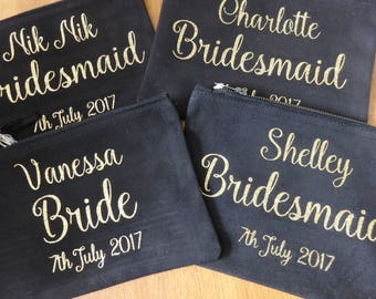 make up bag, accessory bag, bridesmaid gift, wedding gift, birthday, bridal party bridesmaid Maid of honour Mother of the Bride Personalised