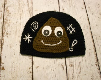 Crochet Poop Emoji Hat- Black and Brown- Newborn to Adult