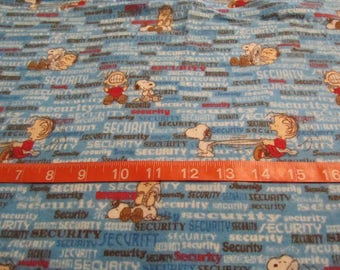 Blue Linus/Snoopy Blanket Flannel Fabric by the Half Yard