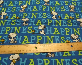 Blue Snoopy/Woodstock Happiness Cotton Fabric By the Half Yard
