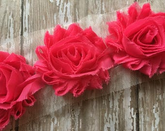 "3 pc- Hot Pink ** Shabby Flower Trim Chiffon Rosettes ** Each flower measures 2.5"""