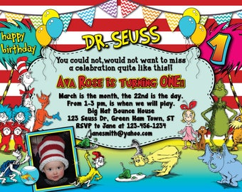 Dr. Seuss Inspired Birthday Invitation