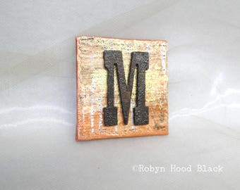 Rustic, Rusty Letter M Magnet 2 X 2