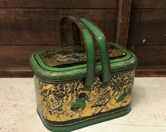 Shabby Antique Little Girls Playing Tin Box, Green and Gold, c 1920, Vintage Tin Box, Lunchbox Lunch Box Style Decorative